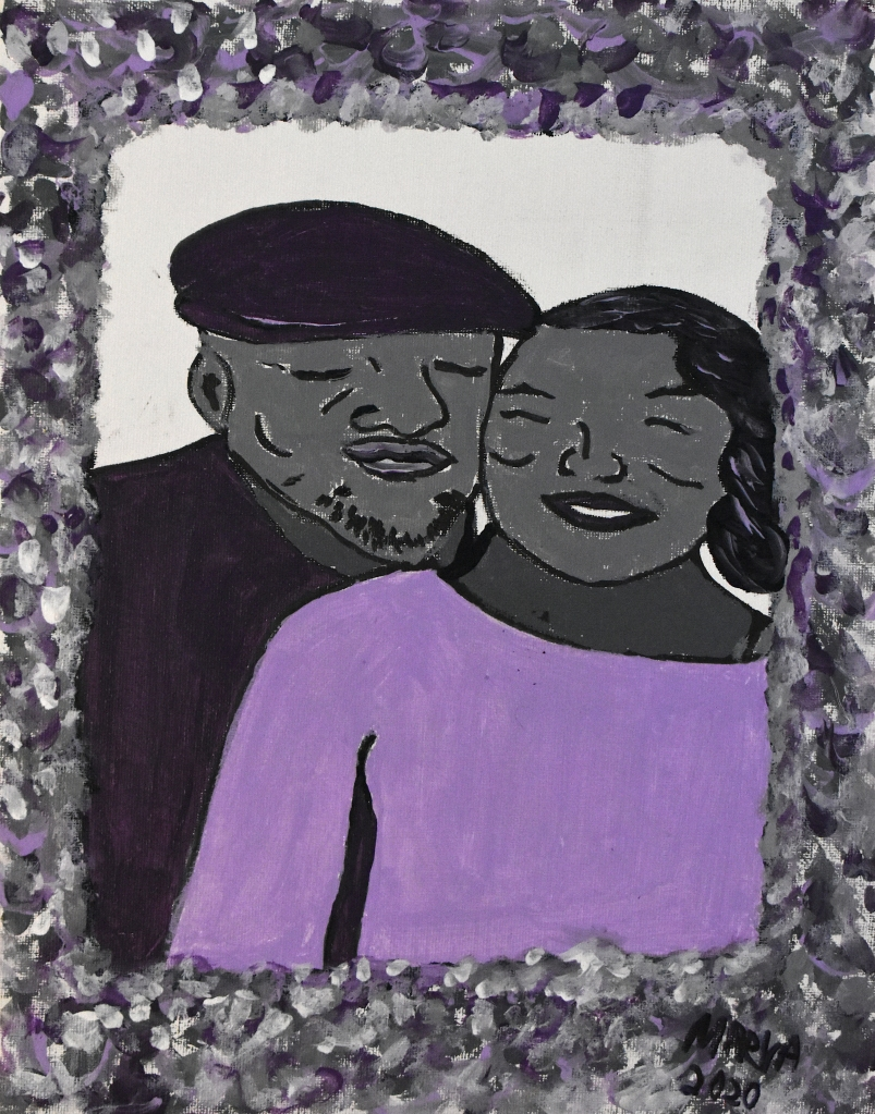 Solid as a Rock 9x16 Acrylic on Canvas Board This picture was inspired by my parent's love. I painted them in the color of cement or rock to signify the strength of their enduring love.