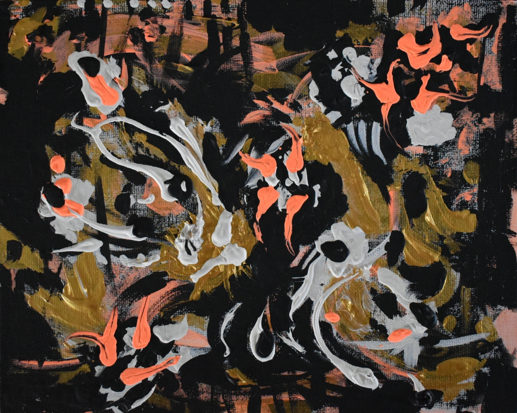Abstract with lines reaching up at the top and with gold, salmon and white figures floating to the top of a black canvas