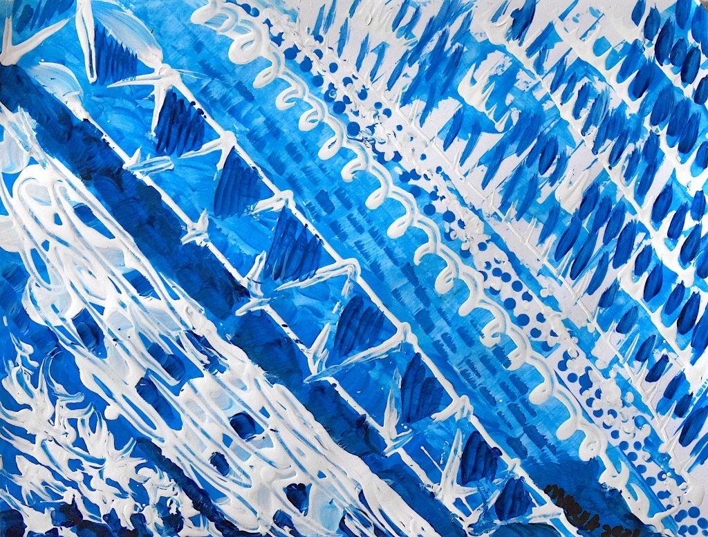 White and shades of blue diagonals