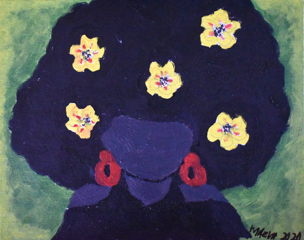A faceless woman with purple skin and bright red earrings, with yellow flowers in her cloud of dark hair