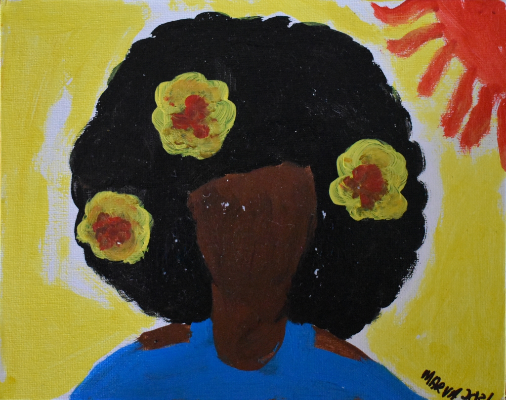 Brown faceless woman with a cloud of dark hair set off by three large yellow flowers with red centers. In the bright yellow background, a red sun.